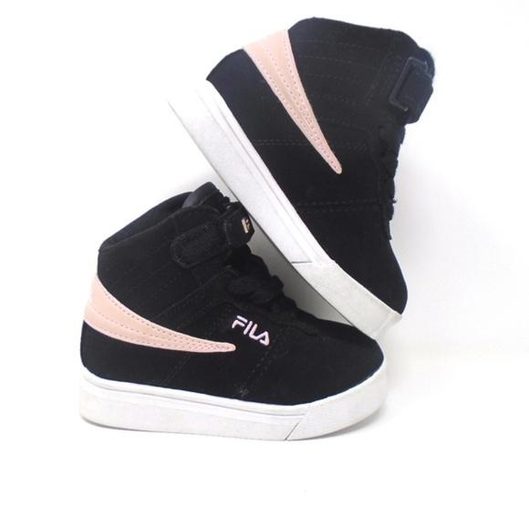 Fila Shoes Girls High Top Black Pink